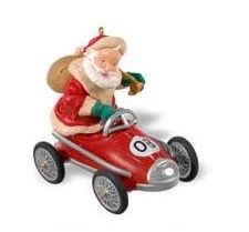 "<font face=""arial"" size=""2""><b>2008 Santa Takes a Spin</b><br>2008 Hallmark Keepsake Club Ornament <br><i> (Scroll down for additional details) </i> </font>"