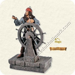 "<font face=""arial"" size=""2""><b>2008 Captain Jack Sparrow, Pirates of the Caribbean</b><br>2008 Hallmark Keepsake Magic Ornament <br><i> (Scroll down for additional details) </i> </font>"