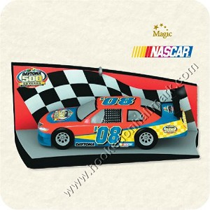 "<font face=""arial"" size=""2""><b>2008 Daytona 500, 50th Running Nascar</b><br>2008 Hallmark Keepsake Magic Ornament <br><i> (Scroll down for additional details) </i> </font>"