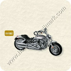 "<font face=""arial"" size=""2""><b>2008 Miniature Harley Davidson #10 <br>2002 VRSCA V-Rod</b><br>2008 Hallmark Keepsake Miniature Ornament <br><i> (Scroll down for additional details) </i> </font>"