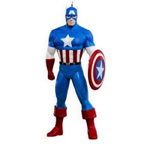 "<font face=""arial"" size=""2""><b>2009 Captain America </b><br>2009 Hallmark Keepsake Ornament <br><i> (Scroll down for additional details) </i> </font>"