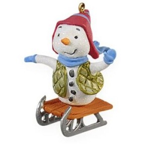 "<font face=""arial"" size=""2""><b>2009 Frosty Rider <br></b>2009 Hallmark Keepsake Miniature Ornament <br><i> (Scroll down for additional details) </i> </font>"