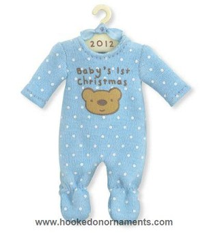 2012 baby boys first christmas blue pajamas