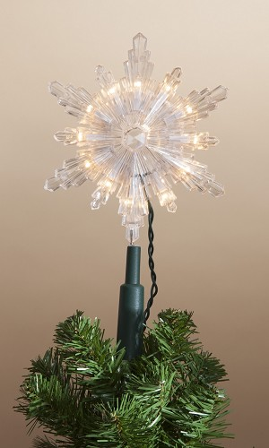 "Lighted 7.5"" Incandescent Snowflake Tree Topper - by Gerson"