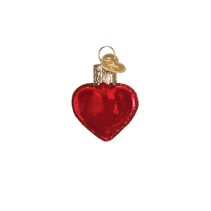 Red Hearts Set/2 - Old World Christmas Blown Glass