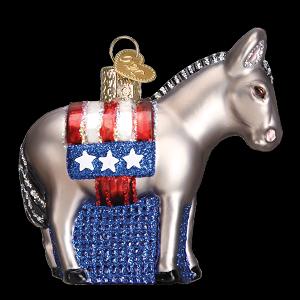 Donkey Christmas Ornaments.Democratic Donkey Old World Christmas Blown Glass