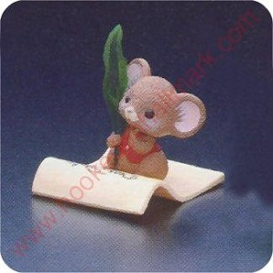 1982 Mouse writing letter to Santa - Merry Miniature