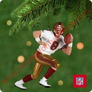 "<font face=""arial"" size=""2""><b>2001 Football Legends <br>Steve Young, San Francisco 49ers</b><br>2001 Hallmark Keepsake Ornament <br><i> (Scroll down for additional details) </i> </font>"