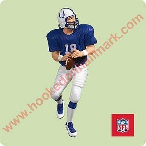 "<font face=""arial"" size=""2""><b>2004 Football Legends #10 <br>Peyton Manning, Indianapolis Colts</b><br>2004 Hallmark Keepsake Series Ornament <br><i> (Scroll down for additional details) </i> </font>"