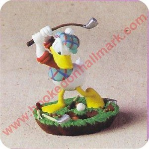 "<font face=""arial"" size=""2""><b>1998 Practice Swing, Donald Duck<br></b>1998 Hallmark Keepsake Disney Ornament <br><i> (Scroll down for additional details) </i> </font>"