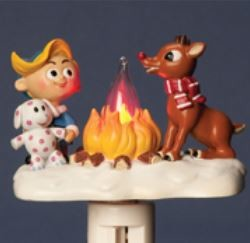 Rudolph Campfire Flickering Night Light -by Roman